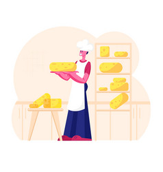 Cheesemaker wearing white apron and toque holding vector