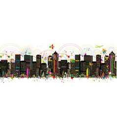 colorful metropolis seamless pattern for your vector image