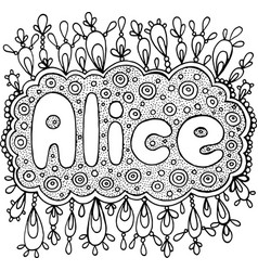 Coloring page for adults with girl s name alice vector