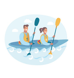 couple in a canoe rowing vector image