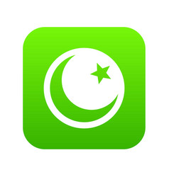 crescent and star icon digital green vector image