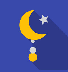 Crescent and star icon in flat style isolated on vector