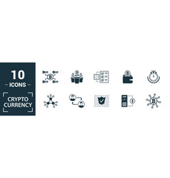 Crypto currency icon set include creative vector