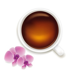 Cup Of Tea With Orchids vector image