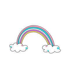 cute color rainbow with clouds vector image