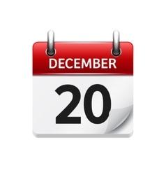 December 20 flat daily calendar icon vector