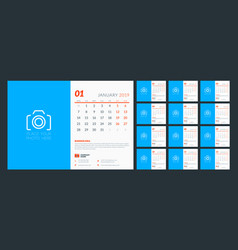 desk calendar for 2019 year design template with vector image
