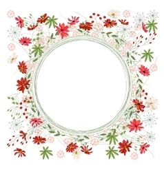 Detailed contour wreath with herbs daisy and wild vector