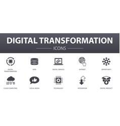 digital transformation simple concept icons set vector image