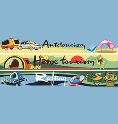 Doodle outdoor recreation horizontal banners vector