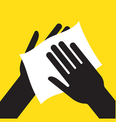 Drying hand with towel vector