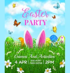 Easter holiday flyer cartoon rabbit ears vector