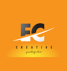 Ec e c letter modern logo design with yellow vector