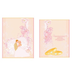 Elegant wedding invitation set with rings and vector