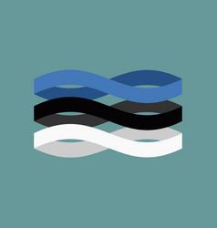 estonia flag ribbon isolated estonian symbol vector image