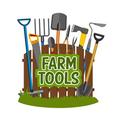 Farm tools and gardening equipment vector