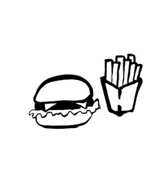 fast food grunge ink icon brush hand drawn vector image