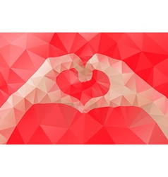 Female hands making a heart shape by abstract vector