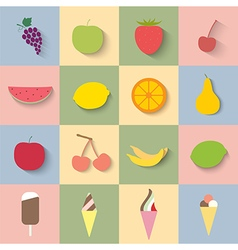 Flat icon fruit and ice cream vector image