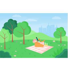 Flat outdoor picnic vector