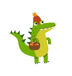 Funny cartoon crocodile character gathering vector