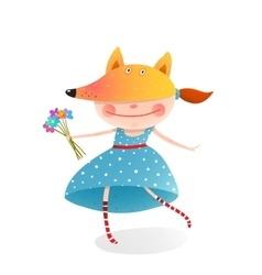 Girl in a mask fox with bouquet of flowers vector