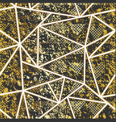 gold grunge triangle pattern vector image