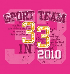 Grunge athletic sports print vector