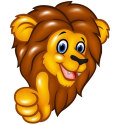 Happy lion mascot giving thumbs up vector image