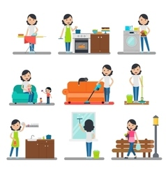 Home Cleaning Flat Collection vector image