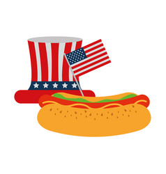 Hot dog with hat flag american food celebration vector