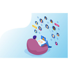 isometric social network concept man laptop using vector image