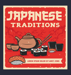 japanese tea sushi and sake vector image