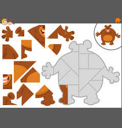 Jigsaw puzzle game with bear animal vector