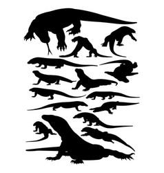 Komodo animal silhouettes vector