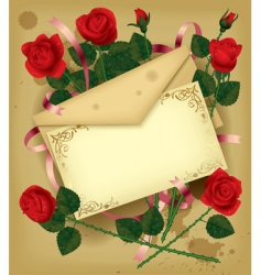 letter with roses vector image