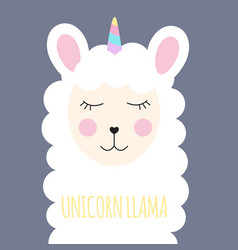 Little cute unicorn llama for card and shirt vector