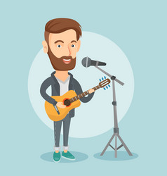 man singing in microphone and playing guitar vector image