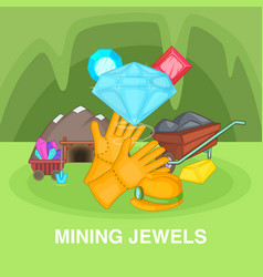 Mining jewels concept cartoon style vector
