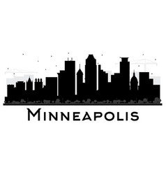 Minneapolis minnesota usa skyline black and white vector