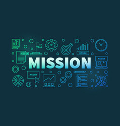 mission colorful linear banner on dark vector image