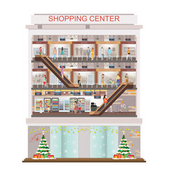 Modern shopping mall center decorated for vector