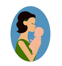 mother holding a baby and giving him a kiss on the vector image