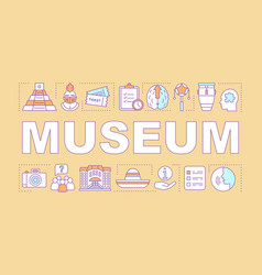 Museum word concepts banner family activities vector