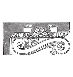 Mutule side view vintage engraving vector