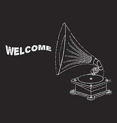 old gramophone in eps vector image