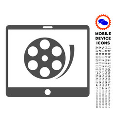 Phone video reel icon with set vector