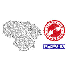 Polygonal network lithuania map and grunge stamps vector