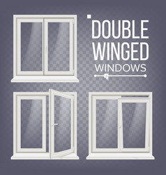 Pvc window double-winged opened and vector