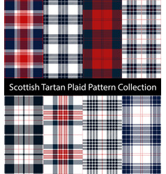 Red blue tartan plaid collection vector